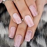 EchiQ, quadratisch, künstliche Nägel, Spitzen, Rosa mit Marmor Textur Falsche Acrylnägel, für künstliche Fingernägel
