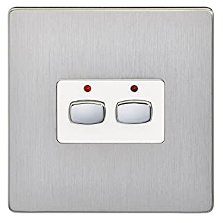Energenie MIHO073 Alexa Compatible MiHome 2-Gang Light Switch, 240 V, Steel