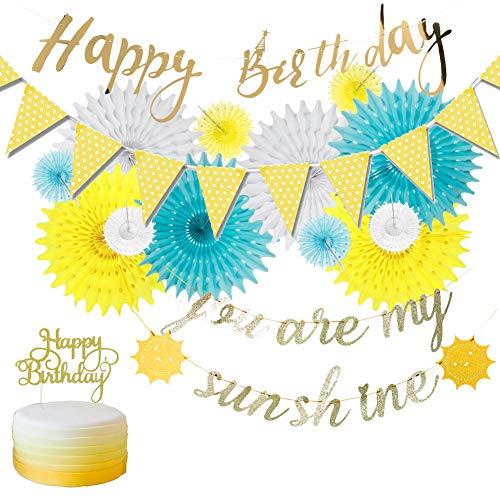 SUNBEAUTY Geburtstagsdeko Papier Fächer Set Geburtstag Party Deko Wimpelkette Happy Birthday Banner Cake Toppers (blau/Gold) -