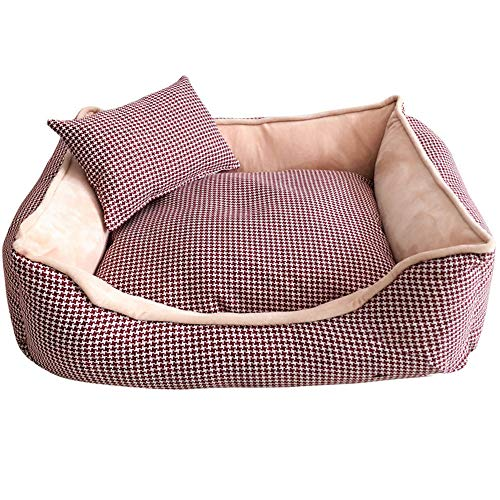 RFVBNM Haustier-Bett für Hundebank-weiche Katzen-Liege für Haustier-Handwäsche-Hundebett für Katzen Dauerhafte Bank-Chihuahua-Haustier-große Hundebetten, rot/S, 50 * 40 * 20CM
