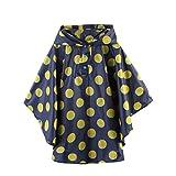 Regenmantel Unisex Kinder Punkte Regenponcho Regenjacke mit Kapuze im Beutel Wasserdicht Regencape Softshelljacke für Jungen oder Mädchen