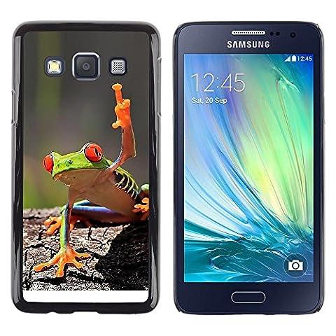 GooooStore/ Housse Etui Cas Coque - You Cool Frog Green Jungle Creature - Samsung Galaxy A3 SM-A300