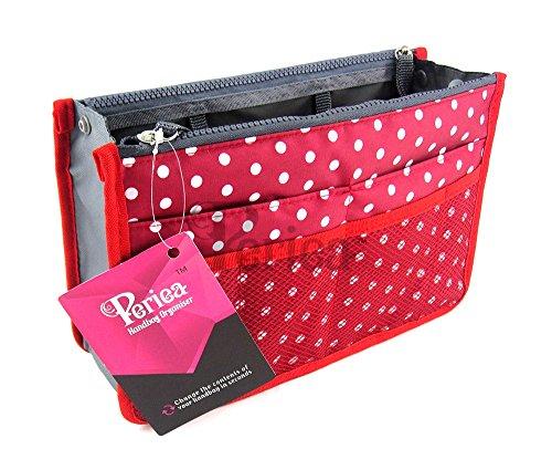Periea - Sac de rangement/Pochette/Organisateur intérieur pour sac à main , 12 Grandes poches 30x19x9cm - Chelsy rouge avec pois blancs