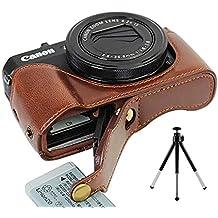 First2savvv XJD-G7XII-D10G6 marron oscuro Funda Cámara cuero de la PU cámara digital bolsa caso cubierta para Canon PowerShot G7 X Mark II .G7X M2 + Mini trípode