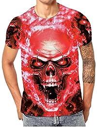 Camisetas Calaveras Hombre Hipster LHWY, Camisetas con Estampado De 3D Cuello Redondo Blusa Suelto Manga Corto Casuales
