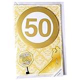Karte Goldhochzeit mit Button mit Zahl 50
