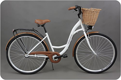 Goetze Classic 28 Zoll Damen Citybike Stadtrad Damenfahrrad Damenrad Hollandrad Retro-Design 3-Gang Korb Hinterradbremse LED-Beleuchtung Weiß