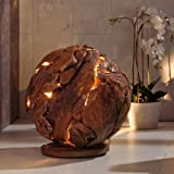 Design Lampe »BOWL« aus massiver Teakholz Hohl-Kugel