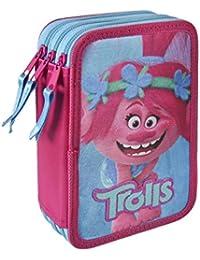 Trolls Poppy - Trousse 3 Compartiments, Sac de crayon pour l'école 43 pièces