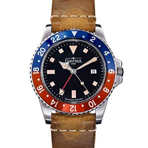 Davosa Swiss Quartz vintage Diver 16250095orologio da polso in vera pelle
