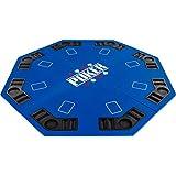 Maxstore Plateau de Poker Pliable Fullhouse pour jusqu'à 8 Joueurs de Poker octogonal, Dimensions: 120 x 120 cm, Panneau MDF, 8 Porte-gobelet, 8 Chip Moyenne, Bleu