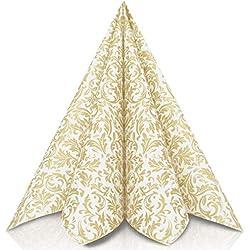 GRUBly Serviettes en Papier Motifs Or   Identique au Tissu   Parfaite déco de Table Anniversaire, Serviette Papier Mariage, dîner, BBQ   QUALITÉ AIRLAID   40 x 40cm   Pack de 50