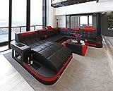Schlichter Möbel Marco Fino Muebles Salón sofá Muebles de Acolchado (Diseño Sofá Sofá Boras XL Negro de Color Rojo