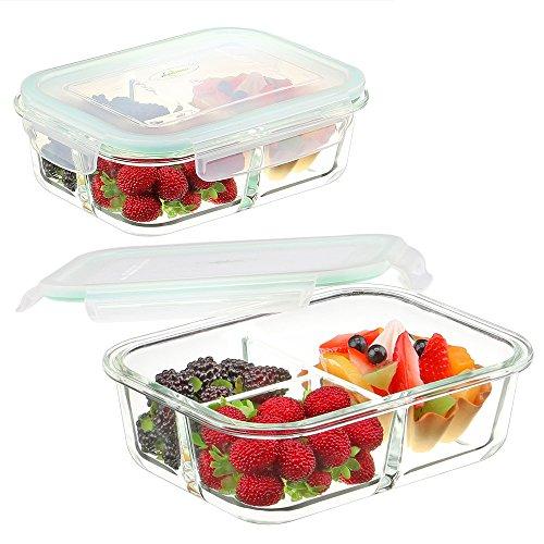 Vidrio Alimentos Contenedores 3 Compartimentos - Envases