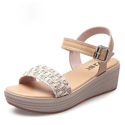Demen L@YC Frauen Slope mit dem Boden des Sommers Thick Bequeme High Heels Wasserdichte Sandalen Gray