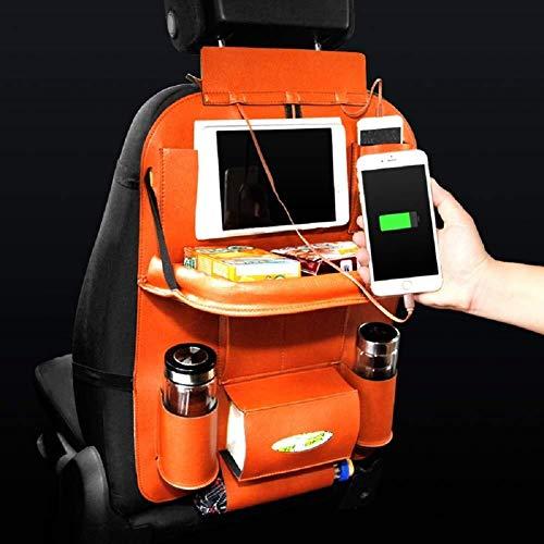 ZSQCA Autositz Zurück Aufbewahrungstasche Klapptisch Halterung Fach Flaschenhalter Multifunktionale Schutz Tasche Aufbewahrungstasche Kick Pad Reisewaren PU-Leder ZSQCA (Color : Orange) -