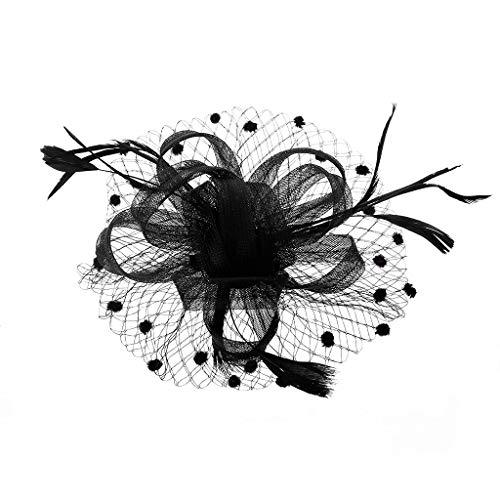 GROOMY Womens Fascinator Blume Aushöhlen Mesh Schleier Feder Haarspange Sternenhimmel Welle Punkt Ball Haarnadel Einfarbig Cocktail Hochzeit Tea Party Headwear 3 Farben