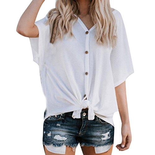 VJGOAL Tops Damen Sommer Große Größen Kurzarm Frauen Elegant Einfach V-Ausschnitt Einfarbig Fledermaus Ärmel Knopf Stricken Shirt (70s Womens Style Jumpsuit)
