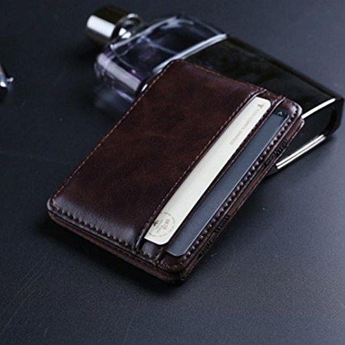 Zip-beutel Brieftasche (Brieftasche Hereen Tasche Btruely Männer Leder kleine Mini Brieftasche Halter Zip Geldbörse Clutch Handtasche (Kaffee))