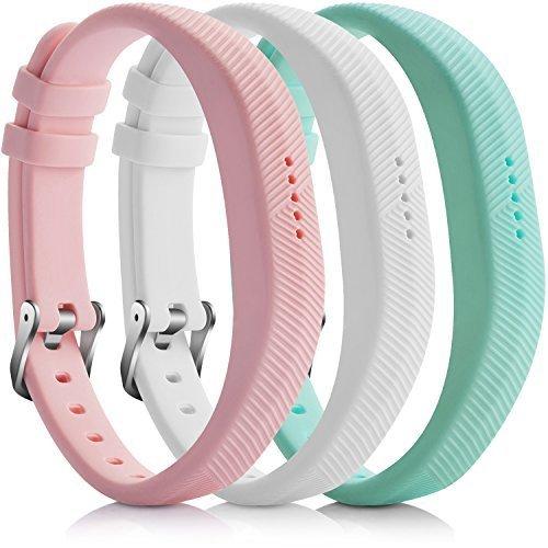 iBREK Fitbit Flex 2 Zubehör Ersatz Armbänd mit Metall Schließe(Ohne Tracker)-3 Stück:Light Rosa&Weiß&Türkis