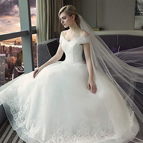 WJZ Weiße Hochzeit V-Ausschnitt Schulter Braut Brautkleid Große Größe Kleid Spitzenkleid,Weiß,S