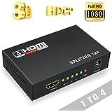 SeCro 3D Digital 1X4 Splitter HDMI Switch for Full HDTV 1080P Support-3D (Black)