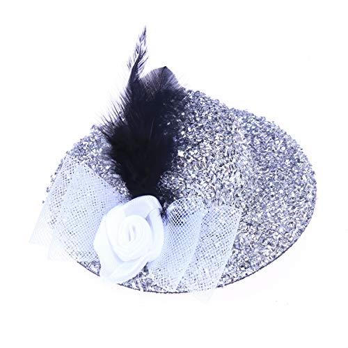 3d4f342c26594 BESTOYARD Las Mujeres de Halloween niñas Sombreros con Clip de Plumas  Headwear Dancing Party Masquerade Cosplay Banquete Stage Performance Props  (Plata)