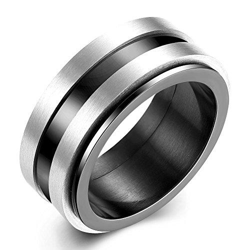 iSchmuck 10mm Breit Edelstahl Ring Band Silber Schwarz Doppelt Streifen Hochzeit Herren - Größe 54 (Schwarz Ring Größe 10)