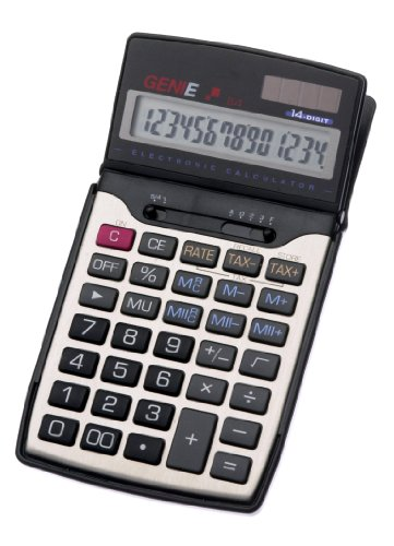 Genie 84 14-stelliger Business-Taschenrechner (Dual-Power (Solar und Batterie), Inkl. Schutzdeckel) schwarz / silber