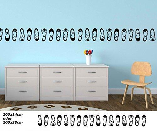 Wandtattoo selbstklebend Bordüre Schuhe Pumps Schuhschrank Pömps Set Kinderzimmer Banner Aufkleber Wohnzimmer 1U338, Farbe:Lindgrün glanz;Länge x Breite:200cm x 28cm
