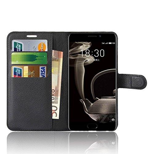 Anzhao Meizu Pro 7 Plus Hülle PU Ledertasche Brieftasche Schutzhülle für Meizu Pro 7 Plus Hülle (Schwarz)