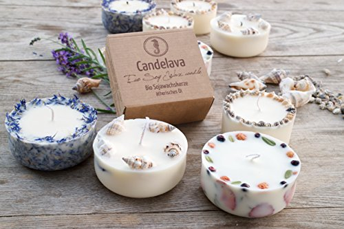 Duftkerze Soja Lavendel Beige Blau Kerze aus Bio Sojawachs ätherisches Lavendel Öl Geschenk - 3