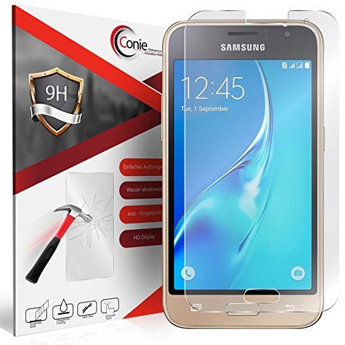 Conie 9H3048 9H Panzerfolie Kompatibel mit Samsung Galaxy J1 2016, Panzerglas Glasfolie 9H Anti Öl Anti Fingerprint Schutzfolie für Galaxy J1 2016 Folie HD Clear