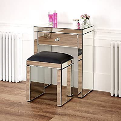 Venetian Mirrored Compact Dressing Table with Black Stool - cheap UK light shop.