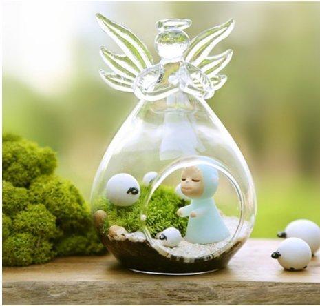 Moorejieka d'anges en verre Plante Vase lumière Bougeoir