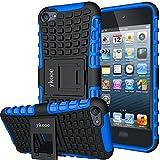 ykooe Handyhülle für iPod Touch 5 Hülle, (TPU Series) Silikon Stoßfest Touch 6 Schutzhülle Ständer Armor Drop Resistance Schutz Hülle für Apple iPod Touch 5G 6G (Blau)