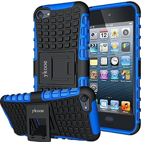 Touch Hülle, iPod Touch 5 Hülle, ykooe (TPU Series) Silikon Stoßfest Touch 6 Schutzhülle Ständer Armor Drop Resistance Schutz Hülle für Apple iPod Touch 5G 6G (Blau)