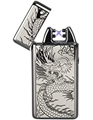 Doble Y Doble Haz De Arc USB Batería Lighter Sin llama Resistente Al Viento Mechero Electrónico,Eléctrico Recargable Cigarrillo Encendedor (Gun Grey)