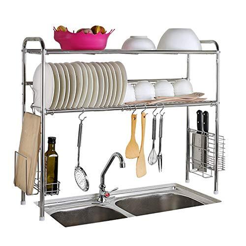 XUE Edelstahl über Waschbecken Wäscheständer Abtropfgestell & Küche Organizer Lebensmittel sicher Regal Home Küche Wohnzimmer Schlafzimmer (Doppel-Nut-Doppelschicht)