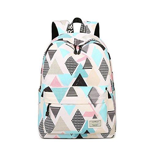 Acmebon Wasserdichte stilvolle Schule Rucksack für Jungen und Mädchen Trend drucken Zufälliger Laptop Rucksack Rhombus 617