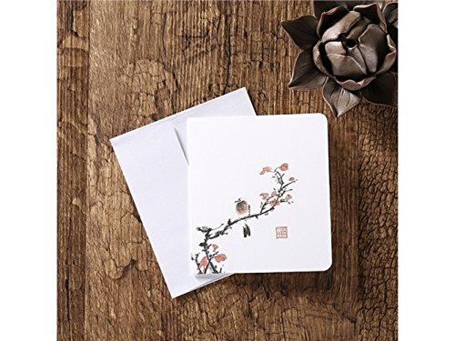 Suprerhoung biglietti d'auguri con buste biglietti d'auguri in bianco carte cinesi classiche stampa d'epoca floreale (fiori e uccelli)
