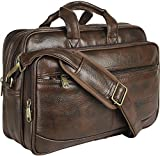 Thames Faux Leather 14 inches Laptop Messenger Bag/Sling Bag/Laptop Briefcase (Dark Brown)