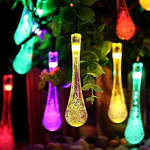 ZS ENNDE 20ft 30 LED Water Drop Solar String Fairy Lights Outdoor Decor Lights For Christmas ,Garden, Patio, Yard, Home, Tree,