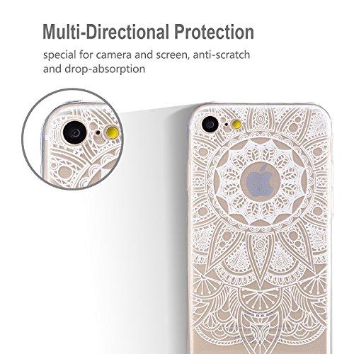 Cover iPhone 7, CaseLover iPhone 7 4.7 Pollici Cover Custodia Trasparente Rigida Flexible TPU Gel Silicone Ultra Sottile non è Facile Sbiadito Prevenire Graffi Disegno Bella Modello per Apple iPhone 7 Bianco Mandala