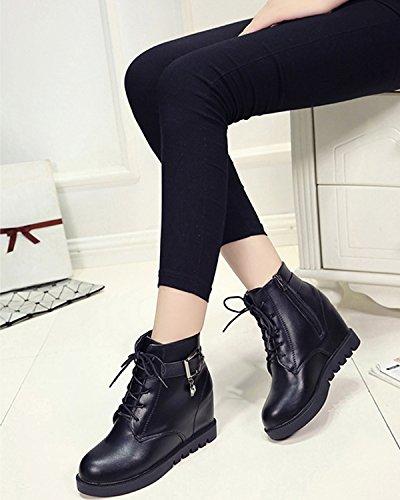 Minetom Femmes Automne Hiver Martin Bottes Style Britannique Mode Bottines Fermeture À Glissière Chaussures Boots Noir