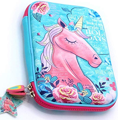 Mistazzo Mist Premium Stylish Unicorn Printed Style Large Capacity Hardtop EVA Pencil Case Organizer School Kids Girls Women Pen Holder Pouch Multipurpose