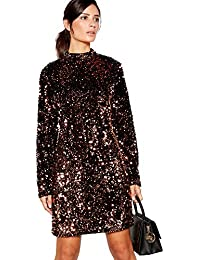 Principles Womens Bronze Sequin Mini Shift Dress