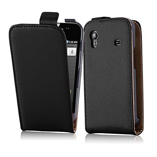 Cadorabo Hülle für Samsung Galaxy ACE (1. Gen.) in KAVIAR SCHWARZ - Handyhülle aus glattem Kunstleder im Flip Design - Case Cover Schutzhülle Etui Tasche