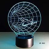 LIkaxyd 3D Lampe Illusion Optique Led Veilleuse,Illusions Lampe De Nuit 7 Couleurs Tactile Lampe,Avec Câble Usb-Noël Cadeau D'Anniversaire-Tunnel Horaire De L'Avion...