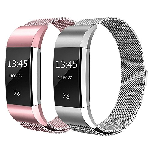 """Sun studio Fitbit Charge 2 Armband, Milanese Fitbit Charge 2 Ersatzarmband Edelstahl Fitbit Armbänder Charge 2 mit Magnet-Verschluss Armband MEHRWEG (5.5\""""-8.5\"""", Roségold + Silber)"""